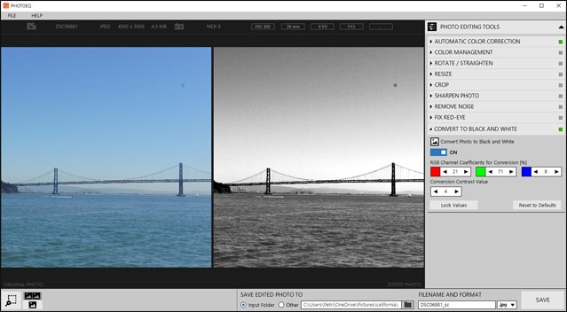 PhotoEQ black and white conversion tool