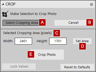Crop tool settings