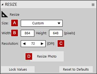 Resize tool settings