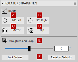 Rotate and straighten conversion tool settings