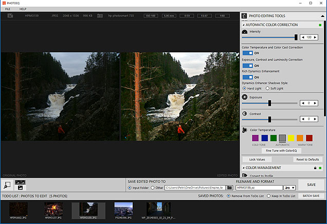 PhotoEQ automatic color correction and todo list