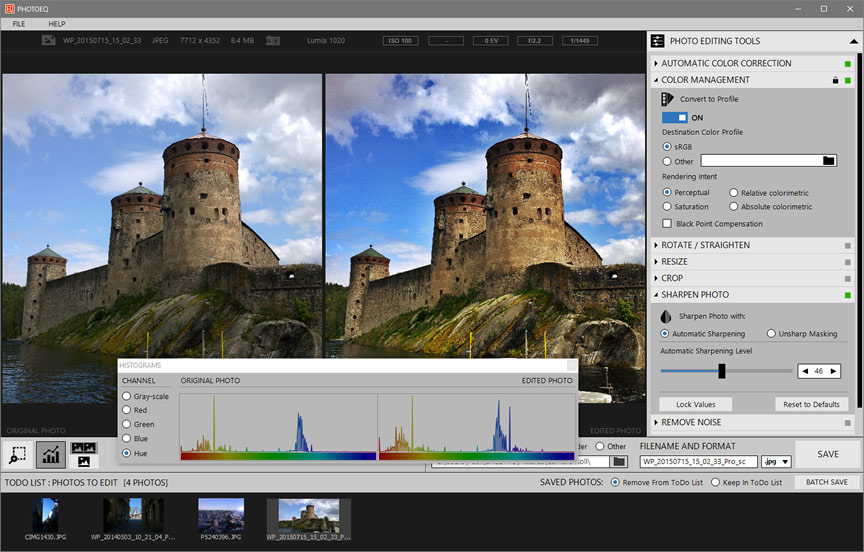 PhotoEQ is powerful and streamlined photo editor