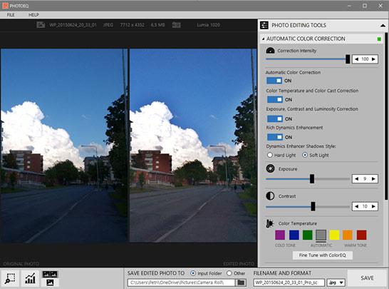 PhotoEQ photo editing tools